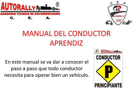 MANUAL DEL CONDUCTOR APRENDIZ
