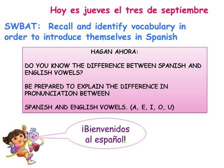 ¡Bienvenidos al español! Hoy es jueves el tres de septiembre SWBAT: Recall and identify vocabulary in order to introduce themselves in Spanish HAGAN AHORA: