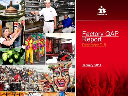 Factory GAP Report December F15 January 2014. Red: 232 Green: 124 Blue: 64 Red: 182 Green: 162 Blue: 78 Red: 153 Green: 102 Blue: 51 Red: 255 Green: 0.