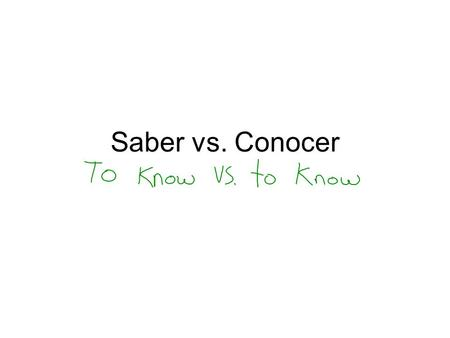Saber vs. Conocer. Saber=To Know Facts Information How to do something.