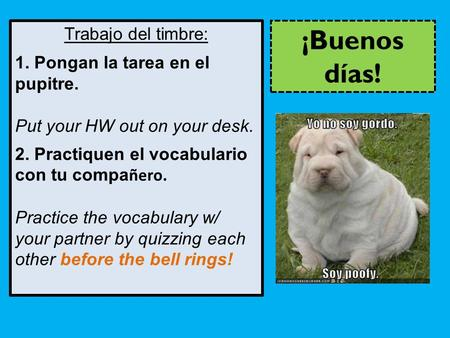 Trabajo del timbre: 1. Pongan la tarea en el pupitre. Put your HW out on your desk. 2. Practiquen el vocabulario con tu compa ñero. Practice the vocabulary.
