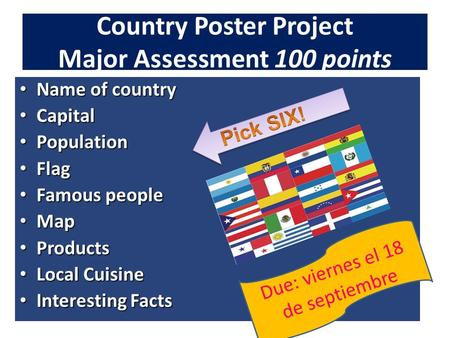 Country Poster Project Major Assessment 100 points Name of country Name of country Capital Capital Population Population Flag Flag Famous people Famous.