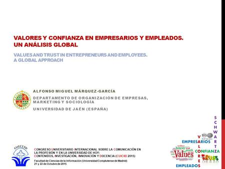 VALORES Y CONFIANZA EN EMPRESARIOS Y EMPLEADOS. UN ANÁLISIS GLOBAL VALUES AND TRUST IN ENTREPRENEURS AND EMPLOYEES. A GLOBAL APPROACH ALFONSO MIGUEL MÁRQUEZ-GARCÍA.