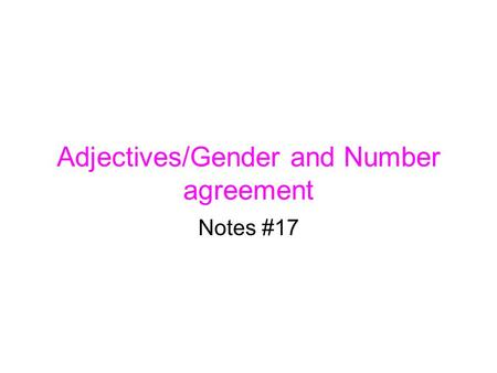 Adjectives/Gender and Number agreement Notes #17.