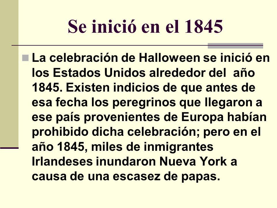 Los immigrates Irlandeses Fueron ellos los que trajeron consigo una vieja fiesta religiosa de los sacerdotes galos llamados druidas , la cual gradualmente se propagó por el resto del país.