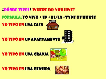 ¿Dónde vives? Where do you live? Formula:Yo vivo + en + el/la +type of house Yo vivo en una casa Yo vivo en un apartamento Yo vivo en una granja Yo vivo.