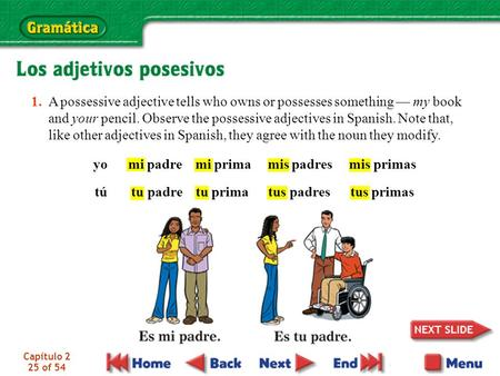 Capítulo 2 25 of 54 1. A possessive adjective tells who owns or possesses something — my book and your pencil. Observe the possessive adjectives in Spanish.