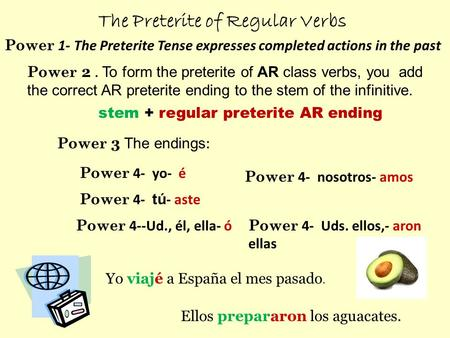 The Preterite of Regular Verbs Power 2. To form the preterite of AR class verbs, you add the correct AR preterite ending to the stem of the infinitive.