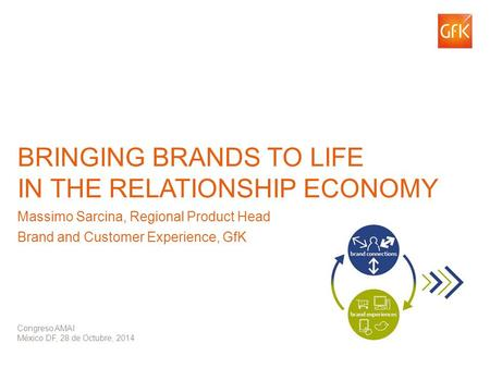© GfK 2014 | Congreso AMAI – 28-29 de Octubre 2014 – M Sarcina BRINGING BRANDS TO LIFE IN THE RELATIONSHIP ECONOMY Massimo Sarcina, Regional Product Head.