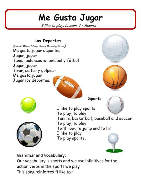 Me Gusta Jugar I like to play. Lesson 1 – Sports Los Deportes (tune of When Johnny Comes Marching Home ) Me gusta jugar deportes Jugar, jugar Tenis, baloncesto,