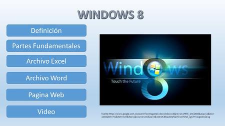 Definición Partes Fundamentales Archivo Excel Archivo Word Pagina Web Video Fuente:https://www.google.com.co/search?q=imagenes+de+windows+8&rlz=1C1PRFE_enCO665&espv=2&biw=