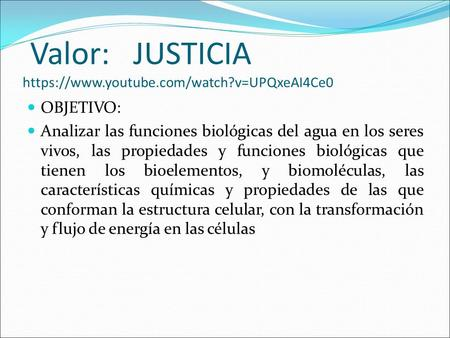 Valor: JUSTICIA https://www.youtube.com/watch?v=UPQxeAI4Ce0