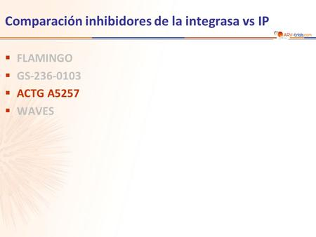 Comparación inhibidores de la integrasa vs IP  FLAMINGO  GS-236-0103  ACTG A5257  WAVES.