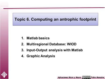 Topic 6. Computing an antrophic footprint 1.Matlab basics 2.Multiregional Database: WIOD 3.Input-Output analysis with Matlab 4.Graphic Analysis.