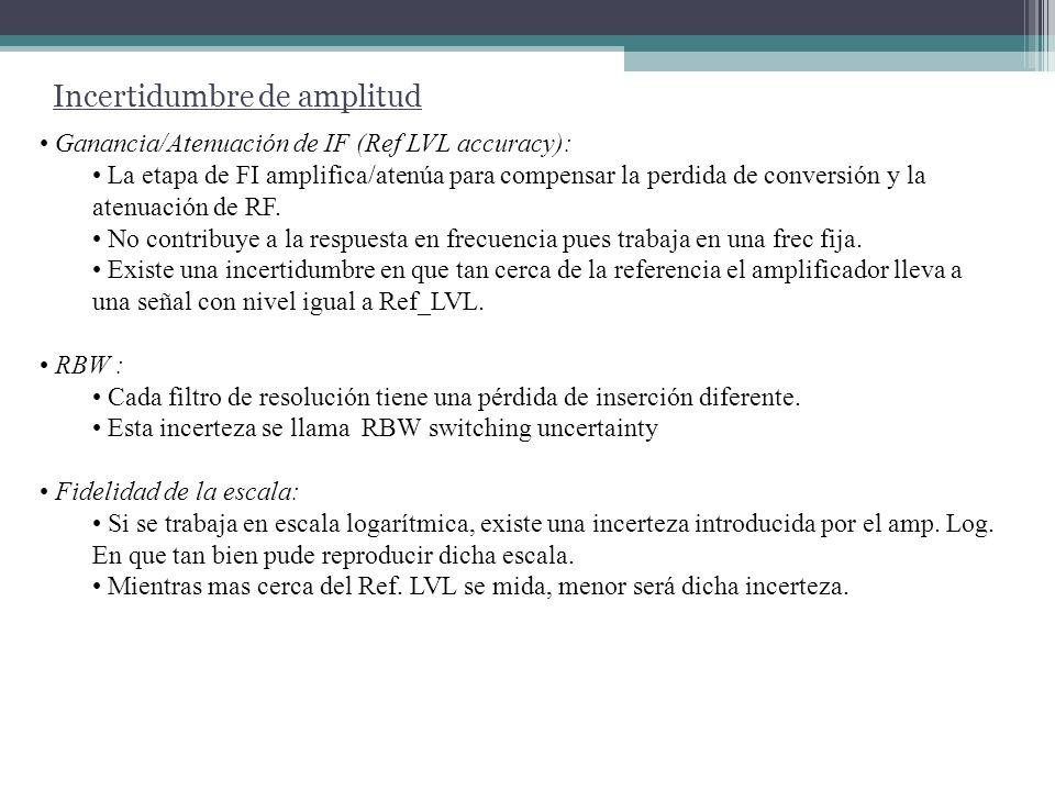 Incertidumbre de amplitud Incerteza Relativa: Al hacer mediciones relativas, algunos de los factores analizados pueden no tener efecto si no se modifica su seteo ( RBW, Ref LVL, etc.), por ejemplo al medir distorsión armónica.