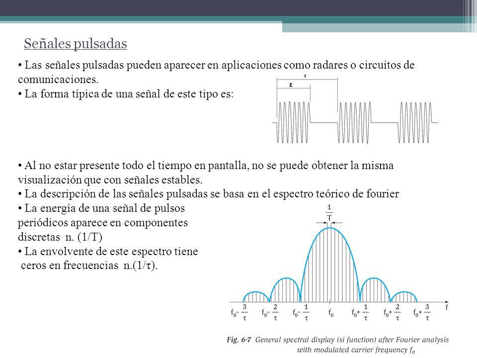 Señales pulsadas Dependiendo de los valores de RBW, T y τ pueden darse 3 casos: El ancho de banda del filtro es chico comparado con la separación de las componentes espectrales de la señal pulsada.