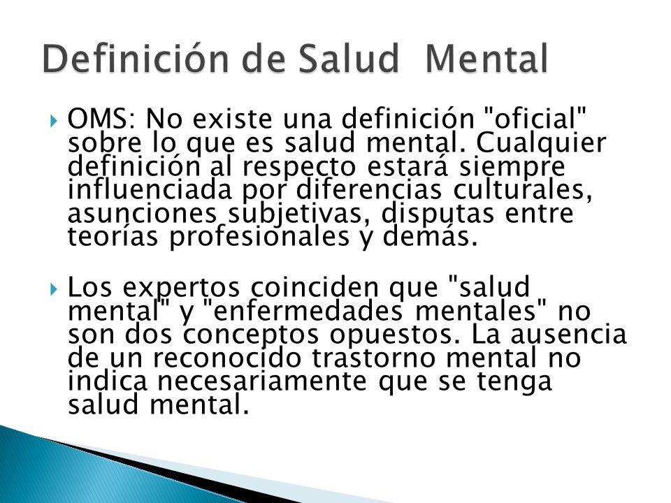 La enfermedad mental es un trastorno bio químico cerebral que afecta la forma de pensar, sentir, de actuar y de percibir la realidad.
