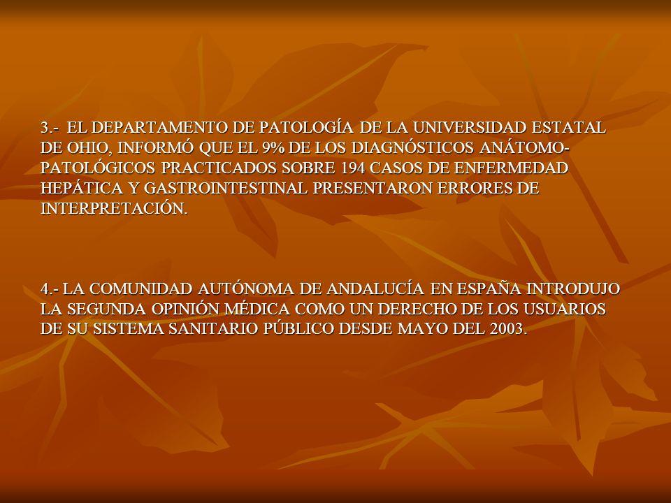 5.- EN LOS ESTADOS UNIDOS, UN PACIENTE DE CADA CINCO QUE VISITAN UN PROFESIONAL DE LA SALUD, TOMAN UNA SEGUNDA OPINION MÉDICA, Y SE DESTINAN APROXIMADAMENTE $3.2 BILLONES DE DÓLARES ANUALES EN CONCEPTO DE SEGUNDA OPINIÓN.