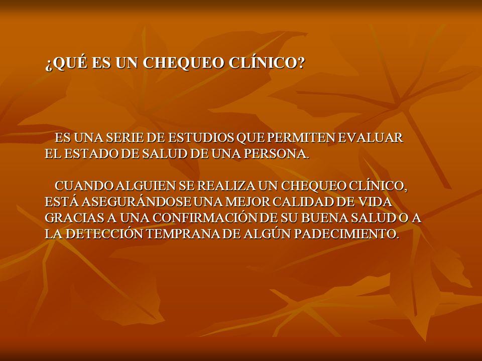 LOS ESTUDIOS SELECCIONADOS SON UNA SERIE DE LOS ESTUDIOS SELECCIONADOS SON UNA SERIE DE EXÁMENES RESPALDADOS EN LA EXPERIENCIA DE CENTROS IMPORTANTES COMO LA CLÍNICA MAYO Y EL HOSPITAL HOPKINS, AL IGUAL QUE EL COLEGIO AMERICANO DE MÉDICOS LOS CUALES PERMITIRAN DETECTAR PADECIMIENTOS DE MANERA PREVENTIVA Y DARLE TRATAMIENTO OPORTUNO.