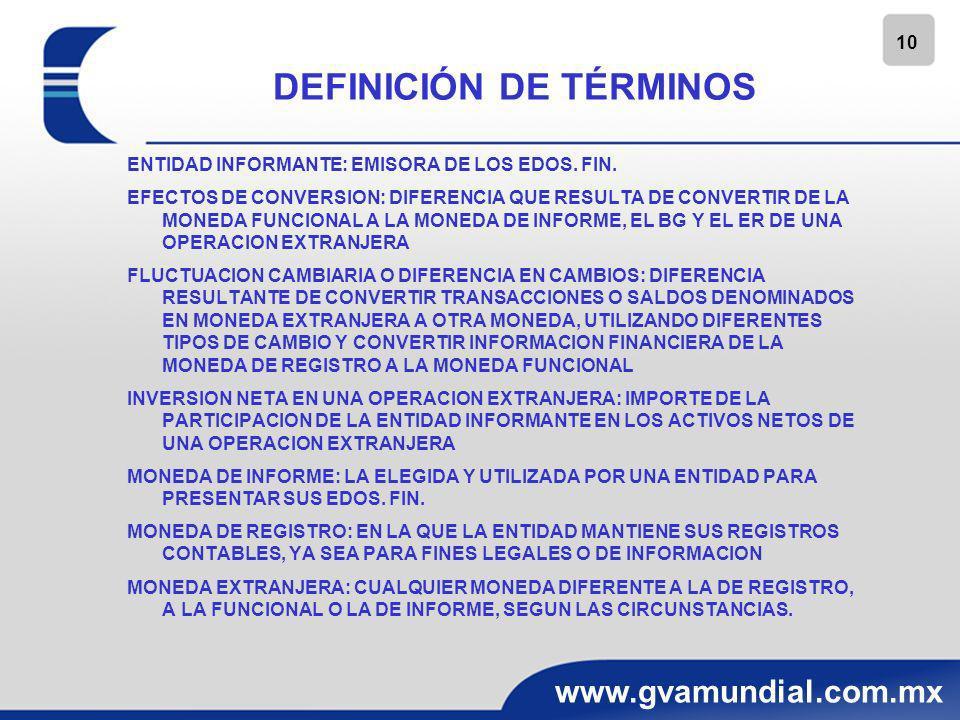 11 www.gvamundial.com.mx DEFINICIÓN DE TÉRMINOS MONEDA FUNCIONAL: CON LA QUE OPERA UNA ENTIDAD EN SU ENTORNO ECONOMICO, EN LA QUE GENERA Y APLICA EFECTIVO OPERACION EXTRANJERA: ENTIDAD JURIDICA O UNIDAD GENERADORA DE EFECTIVO CUYAS OPERACIONES ESTAN BASADAS EN UN ENTORNO ECONOMICO O MONEDAS DISTINTOS A LOS DE LA ENTIDAD INFORMANTE PARTIDAS MONETARIAS: EXPRESADAS EN UNIDADES MONETARIAS NOMINALES PARTIDAS NO MONETARIAS: SU VALOR VARIA DE ACUERDO CON EL COMPORTAMIENTO DE LA INFLACION TRANSACCIONES EN MONEDA EXTRANJERA: LAS REALIZADAS POR LA ENTIDAD INFORMANTE DENOMINADAS EN MONEDA EXTRANJERA TIPO DE CAMBIO: RELACION DE CAMBIO ENTRE DOS MONEDAS TIPO DE CAMBIO DE CONTADO: UTILIZADO EN TRANSACCIONES DE ENTREGA INMEDIATA TIPO DE CAMBIO DE CIERRE: EL DE CONTADO A LA FECHA DEL BG TIPO DE CAMBIO HISTORICO: EL DE CONTADO A LA FECHA DE LA OPERACION VALOR RAZONABLE: MONTO DE EFECTIVO QUE SE ESTARIA DISPUESTO A INTERCAMBIAR POR UN ACTIVO, UN PASIVO EN UN MERCADO DE LIBRE COMPETENCIA