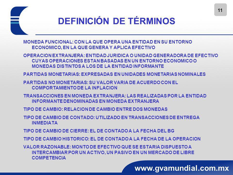 12 www.gvamundial.com.mx TIPO DE CAMBIO SI ESTAN DISPONIBLES VARIOS TIPOS DE CAMBIO, DEBE UTILIZARSE AQUEL CON EL QUE LOS FLUJOS DE EFECTIVO FUERON REALIZADOS O PUDIERON HABER SIDO REALIZADOS A LA FECHA DE LA CONVERSION SI DERIVADO DE UN CONTROL DE CAMBIOS EXISTEN RESTRICCIONES SE DEBERA TOMAR EL TIPO DE CAMBIO PUBLICADO POR UNA ENTIDAD RECONOCIDA DE NO EXISTIR INFORMACION SOBRE EL TIPO DE CAMBIO Y SI SE TRATA DE UNA SUBSIDIARIA - DEJAR DE CONSOLIDAR SUS EDOS.