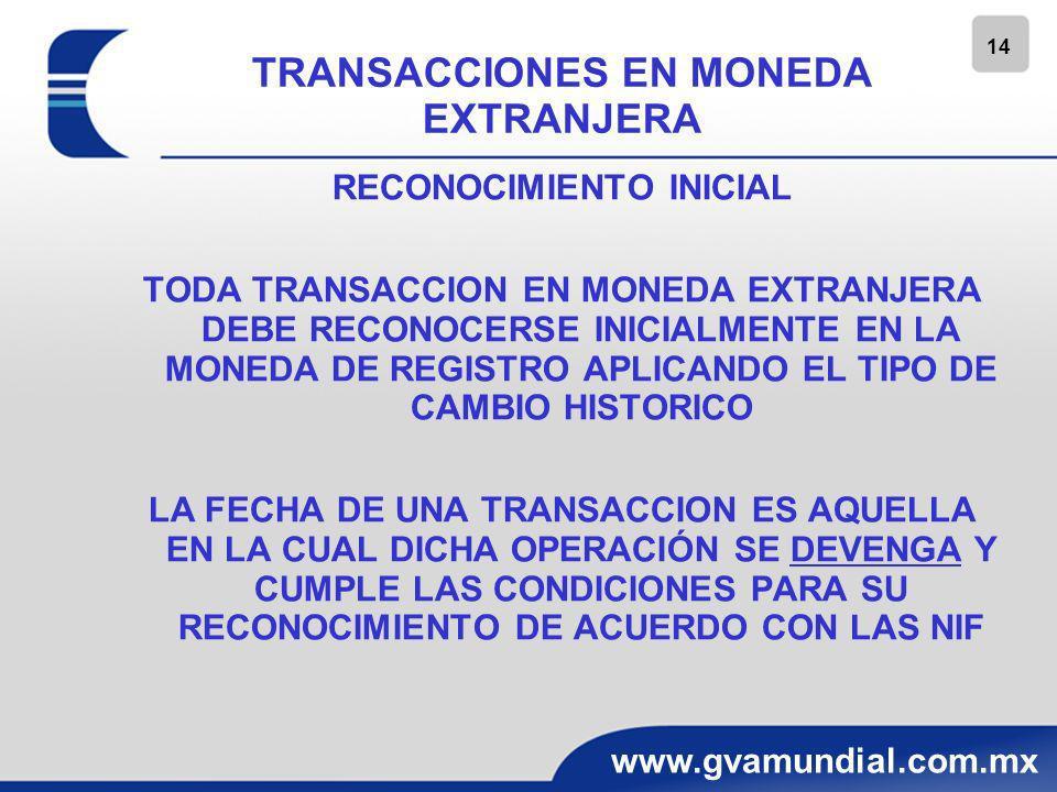15 www.gvamundial.com.mx TRANSACCIONES EN MONEDA EXTRANJERA RECONOCIMIENTO POSTERIOR Y NORMAS DE CONVERSION A LA FECHA DE CIERRE DE LOS EDOS.
