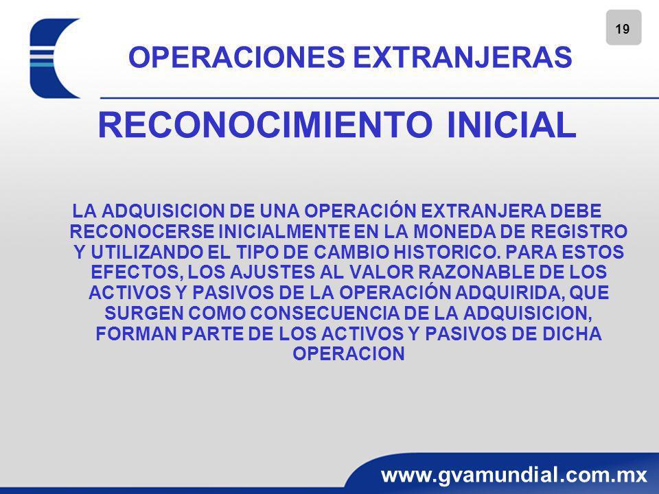 20 www.gvamundial.com.mx OPERACIONES EXTRANJERAS RECONOCIMIENTO POSTERIOR Y NORMAS DE CONVERSION CONFORME A LAS NIF PARTICULARES RELATIVAS A ESTADOS FINANCIEROS CONSOLIDADOS Y COMBINADOS E INVERSIONES PERMANENTES EN ACCIONES, LOS EDOS.
