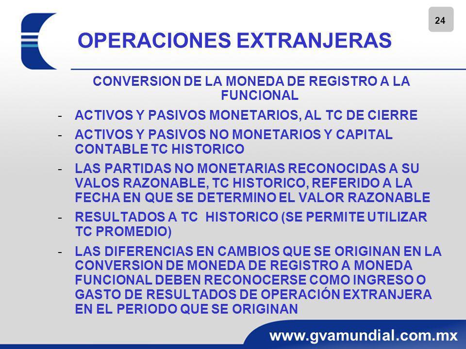 25 www.gvamundial.com.mx OPERACIONES EXTRANJERAS CONVERSION DE LA MONEDA FUNCIONAL A LA DE INFORME CUANDO LA MONEDA DE INFORME ES DIFERENTE DE LA FUNCIONAL SE CALIFICA COMO MONEDA EXTRANJERA; POR LO QUE SE DEBE CONVERTIR DE LA MONEDA FUNCIONAL A LA DE INFORME CUANDO LA MONEDA DE INFORME ES IGUAL QUE LA FUNCIONAL, NO SE DEBE CONVERTIR A MONEDA DE INFORME