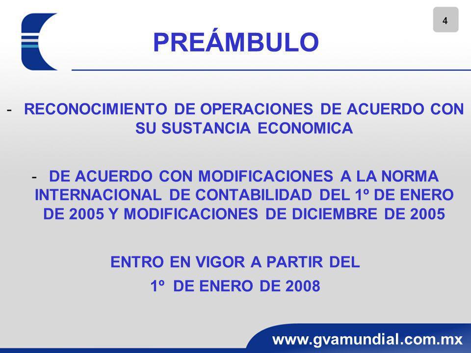 5 www.gvamundial.com.mx OBJETIVO ESTABLECER LAS NORMAS PARA EL RECONOCIMIENTO DE LAS TRANSACCIONES EN MONEDA EXTRANJERA Y DE LAS OPERACIONES EXTRANJERAS EN LOS ESTADOS FINANCIEROS DE LA ENTIDAD INFORMANTE Y LA CONVERSION DE SU INFORMACION FINANCIERA A UNA MONEDA DIFERENTE A SU MONEDA DE REGISTRO O A SU MONEDA FUNCIONAL ASIMISMO, ESTABLECER NORMAS DE PRESENTACION Y REVELACION