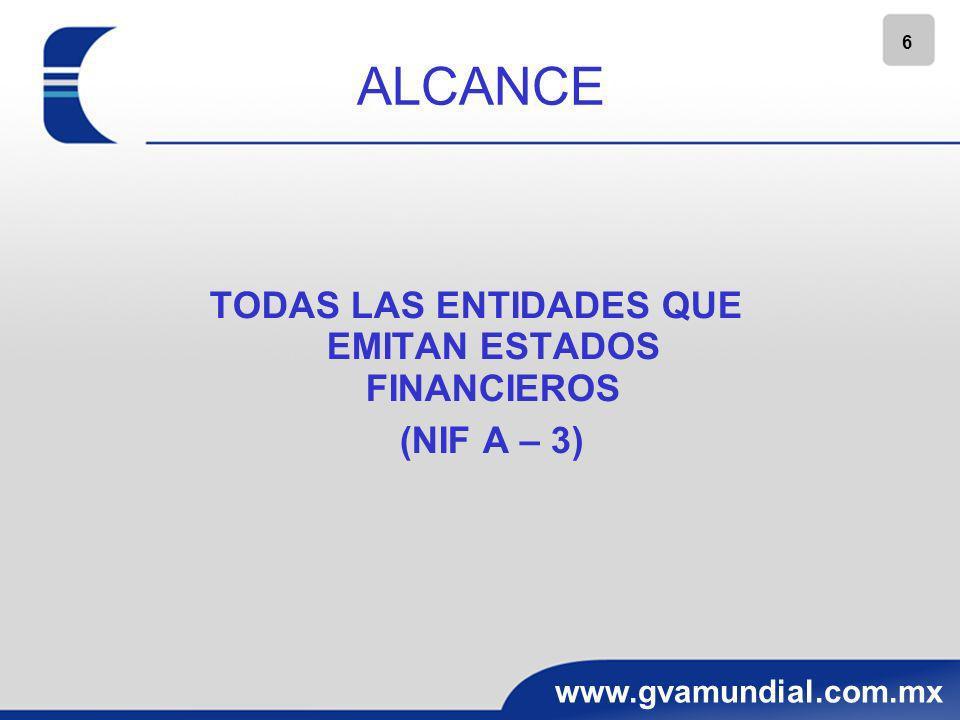7 www.gvamundial.com.mx ALCANCE APLICABLE A: EL RECONOCIMIENTO EN LA MONEDA DE REGISTRO, DE LAS TRANSACCIONES Y SALDOS EN MONEDA EXTRANJERA LA CONVERSION DE LOS EDOS.