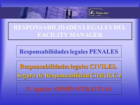 RESPONSABILIDADES LEGALES DEL FACILITY MANAGER Responsabilidades legales PENALES Responsabilidades legales CIVILES. Seguro de Responsabilidad Civil (R.C.)