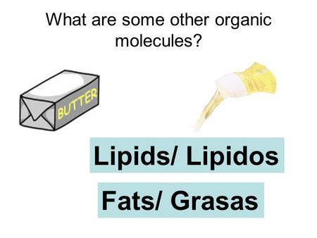 What are some other organic molecules? Lipids/ Lipidos Fats/ Grasas.