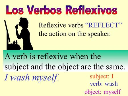 "Reflexive verbs ""REFLECT"" the action on the speaker. A verb is reflexive when the subject and the object are the same. I wash myself. subject: I verb:"