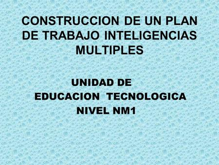 CONSTRUCCION DE UN PLAN DE TRABAJO INTELIGENCIAS MULTIPLES UNIDAD DE EDUCACION TECNOLOGICA NIVEL NM1.