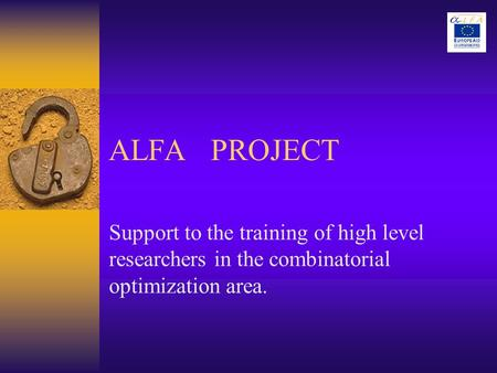 ALFA PROJECT Support to the training of high level researchers in the combinatorial optimization area.