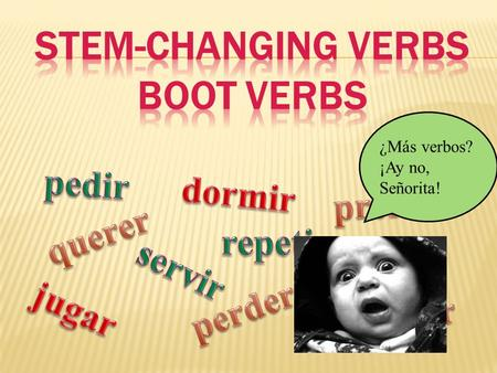 ¿Más verbos? ¡Ay no, Señorita!.  Every verb has two parts: The stem and the ending. We change the ending to say who's doing the action.  Querer – to.