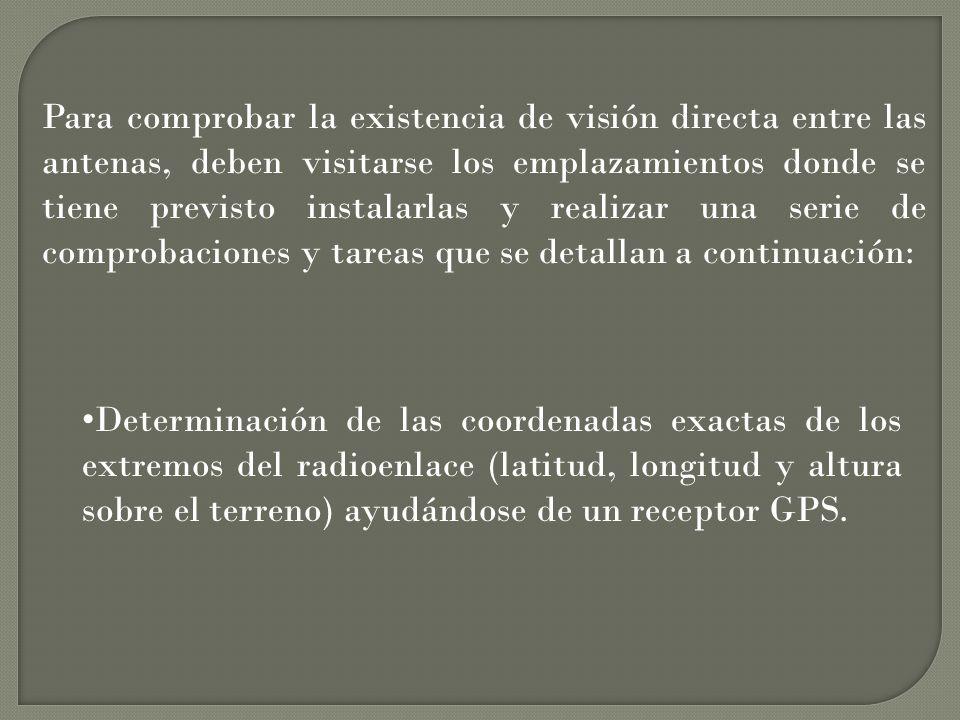 En el caso de enlaces de corto y medio alcance se puede comprobar la existencia de visión directa con ayuda de unos prismáticos.