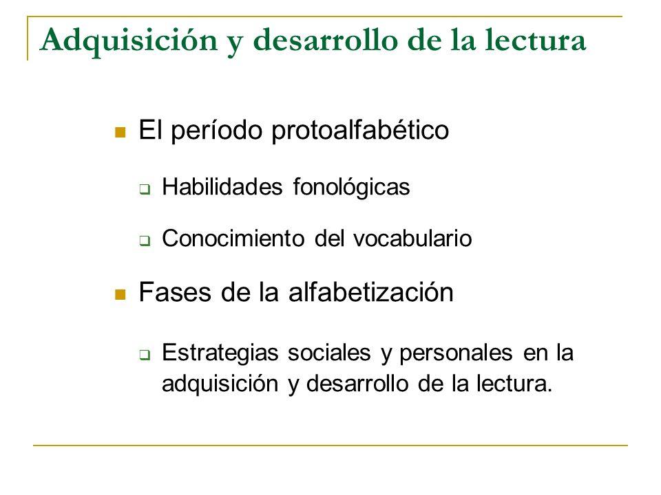 ETAPAS DEL DESARROLLO DE LA LECTURA EtapaEdad y gradoRasgos destacados Proceso de adquisición 0 6 m.