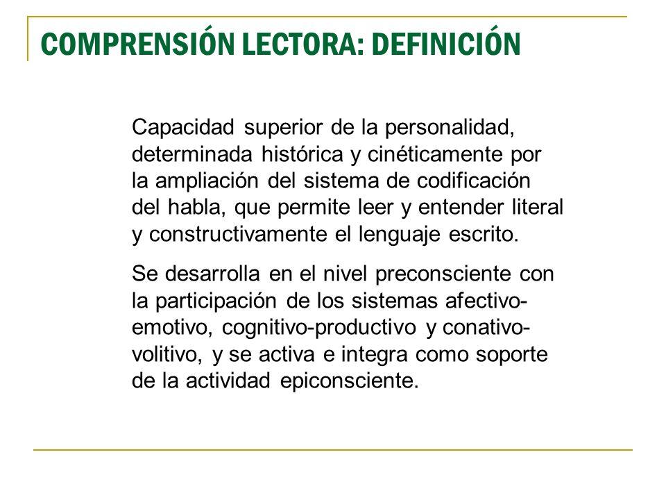 Comprensión lectora: sentidos (niveles) Restringido: se restringe al reconocimiento de las palabras (niveles de aprendizaje logográfico y alfabético).