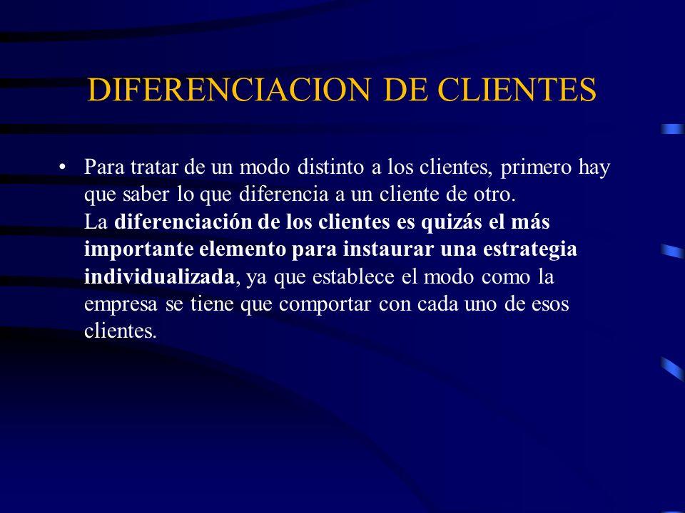 DIFERENCIACION DE CLIENTES Los clientes difieren entre sí en función de dos aspectos principales: tienen un valor distinto para la empresa y necesitan cosas distintas de la empresa.