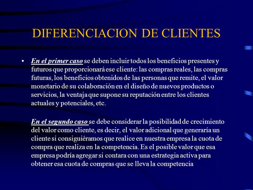 DIFERENCIACION DE CLIENTES Una vez que se ha determinado el valor, hay que clasificar a los clientes tomando en cuenta ese valor.