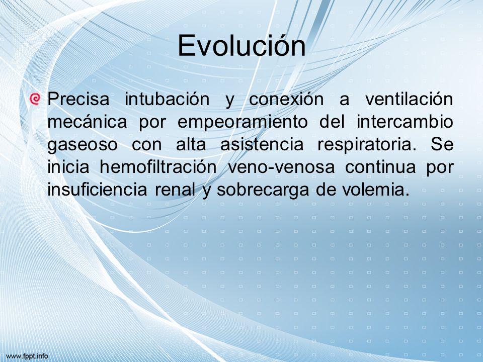 Pronostico La evolución es desfavorable hacia fracaso multiorgánico (FMO) refractario, produciéndose asistolia y parada cardiorrespiratoria, siendo éxitus a las 12 horas del ingreso.