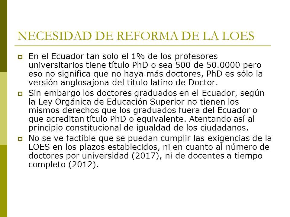 REFORMA SALARIAL DEL PROFESOR UNIVERSITARIO 6 de cada 100 ecuatorianos tiene título universitario.