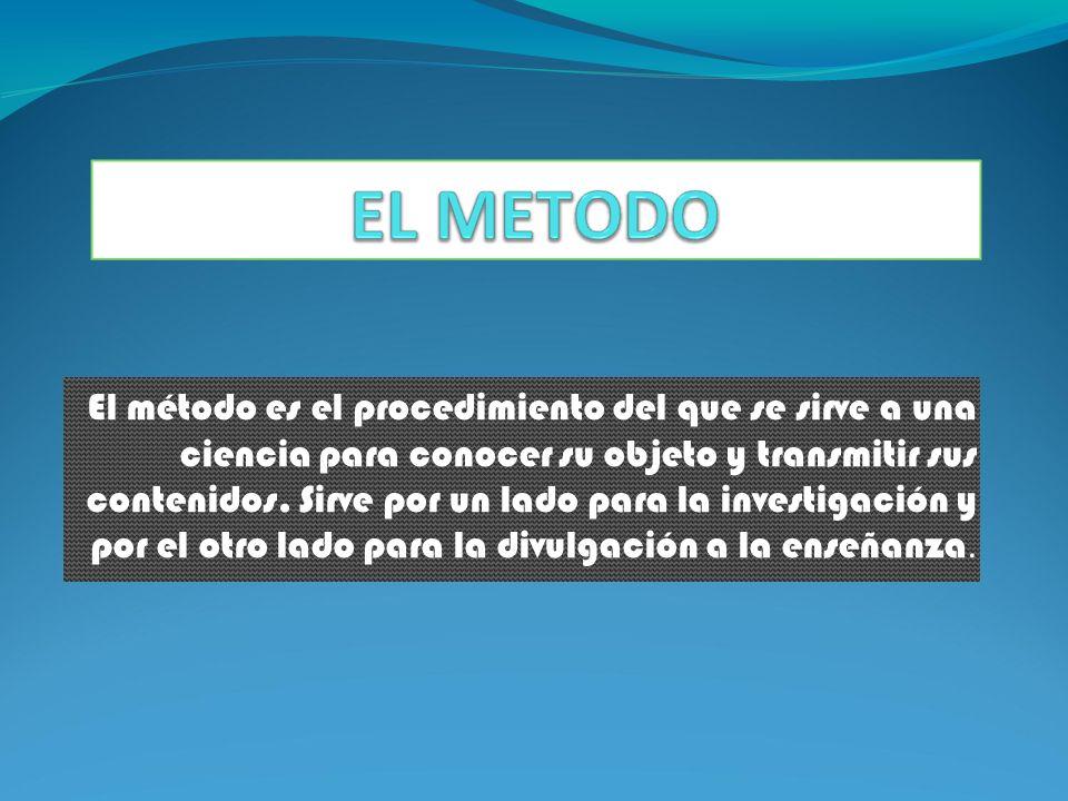 El método es el procedimiento del que se sirve a una ciencia para conocer su objeto y transmitir sus contenidos.
