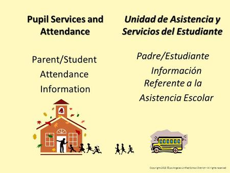 Pupil Services and Attendance Parent/Student Attendance Information Copyright-2015 ©Los Angeles Unified School District – All rights reserved Unidad de.