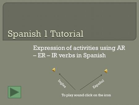 Expression of activities using AR – ER – IR verbs in Spanish To play sound click on the icon Español Ingles.
