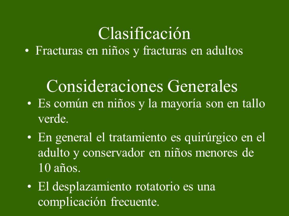 Clasificación Anatómica 1.Fracturas aisladas a. Cúbito b.