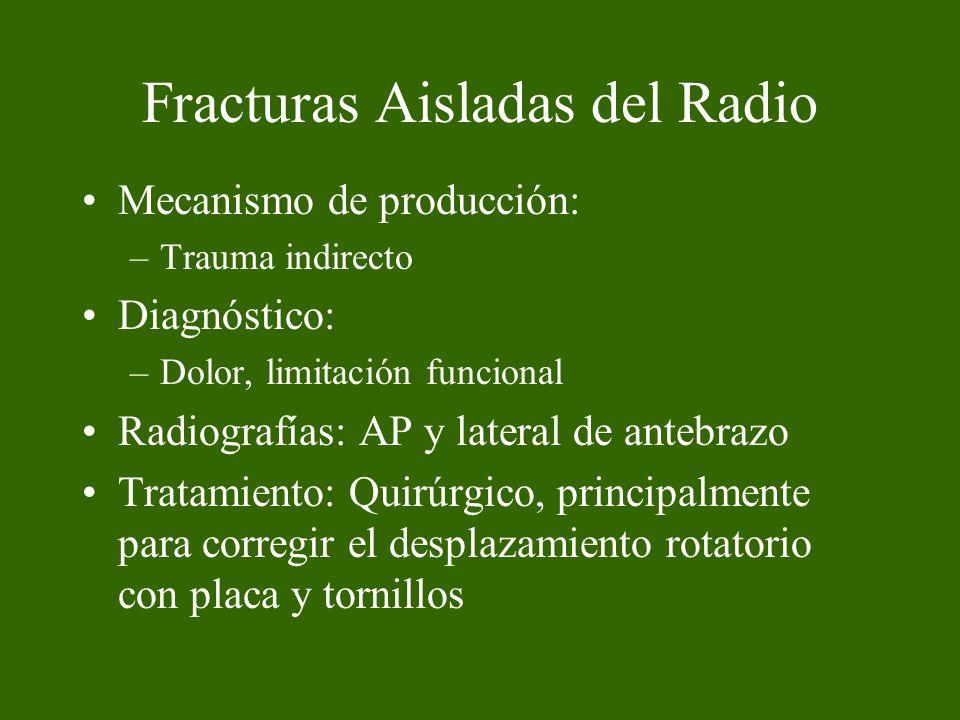 Fracturas Aisladas del Cúbito El mecanismo de producción: directo.