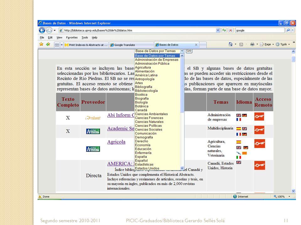 Bibliográfica Segundo semestre 2010-2011PICIC-Graduados/Biblioteca Gerardo Sellés Solá 12