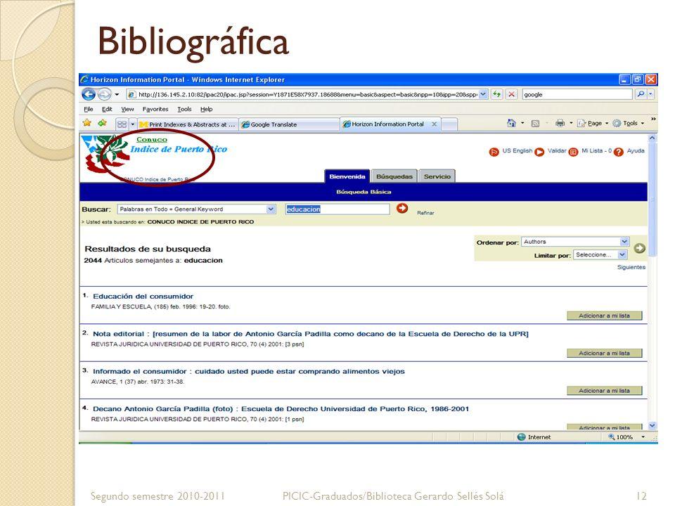 Abstractos o resúmenes Segundo semestre 2010-2011PICIC-Graduados/Biblioteca Gerardo Sellés Solá 13